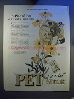 1921 Pet Evaporated Milk Ad - A Pint is a Quart of Milk