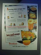 1945 Sunkist Orange Ad - Amazing What Oranges Do!