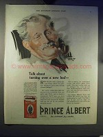 1921 Prince Albert Tobacco Ad - Turning Over a New Leaf