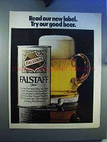 1969 Falstaff Beer Ad - Read Our New Label