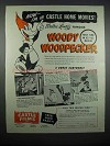 1947 Castle Films Ad - Woody Woodpecker Cartoons