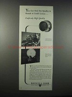 1947 Bausch & Lomb Photographic Lenses Ad - Quality