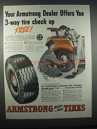 1947 Armstrong Tires Ad - 3-Way Tire Check Up