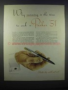 1946 Parker 51 Pen Ad - Morning Is The Time to Seek