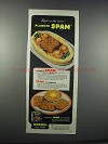 1945 Hormel SPAM Ad - Right on The Beam