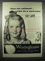 1945 Westinghouse Mazda Lamps Ad - Eyes are Rationed