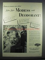 1945 Modess with Deodorant Sanitary Napkins Ad - Rave