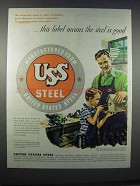 1945 United States Steel Ad - Label Means Good
