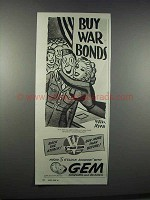 1944 Gem Razors and Blades Ad - Peter Arno - War Bonds
