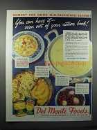 1944 Del Monte Peaches, Fruit Cocktail, Corn & Beets Ad