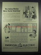 1943 Emerson Electric Motors for Appliances Ad - Sewing