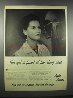 1943 Agfa Ansco Film Ad - Girl Proud of Her Shiny Nose