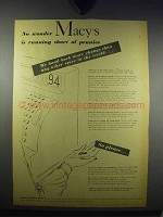 1943 Macy's Department Store Ad - Short of Pennies