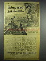 1943 Anaconda Copper Mining Ad - Drill Bites Rock
