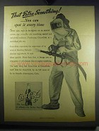 1942 Coca-Cola Soda Ad - Aircraft Carrier Fire-Fighter