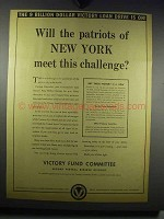1942 Victory Fund Committee Ad - Patriots of New York