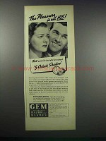 1938 Gem Razor and Blades Ad - The Pleasure is All His