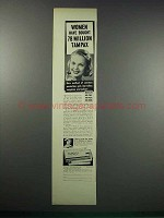 1938 Tampax Tampons Ad - Women Have Bought 78 Million