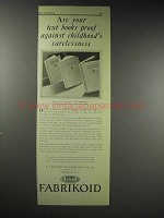 1929 Du Pont Fabrikoid Textbook Binding Material Ad - Carelessness