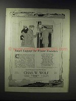 1920 Chas. W. Wolf Trunks and Luggage Ad - Smart