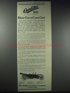 1914 Willys-Overland Cars Ad - More Car at Less Cost