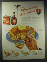 1948 Log Cabin Syrup Ad - Quick Way to a Man's