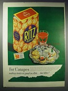 1948 Ritz Crackers Ad - For Canapes