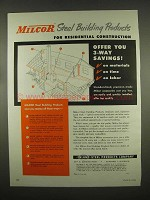1954 Inland-Steel Milcor Steel Building Products Ad