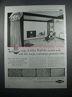 1954 Dow Latex Paint Ad - Protect Walls
