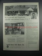 1954 United States Steel Homes Ad - Lynwood Gunnisons