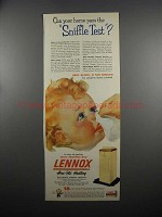 1953 Lennox Aire-Flo Heating Ad - Sniffle Test