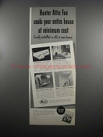 1953 Hunter Attic Fan Ad - Cools Your Entire House
