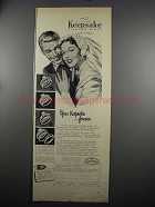 1952 Keepsake Diamond Engagement & Wedding Rings Ad