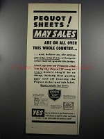 1952 Pequot Sheets Ad - May Sales
