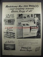 1952 Philco Double Oven 428 Range Ad - Revolutionary