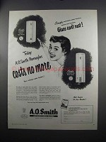 1951 A.O. Smith Water Heater Ad - Costs No More