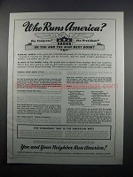 1950 American Medical Association Ad, Who Runs America?
