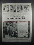 1950 Johnson's Wax Ad - Heeded the Warning Signs