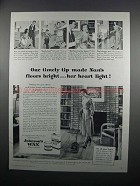 1950 Johnson's Wax Ad - One Timely Tip