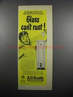 1950 A.O. Smith Water Heater Ad - Glass Can't Rust