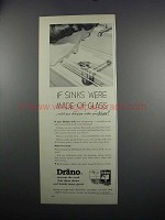 1949 Drackett Co. Drano Ad - If Sinks Were of Glass