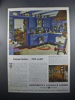 1949 Armstrong Linoleum Floors Ad - Colonial Kitchen