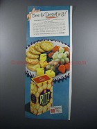 1949 Nabisco Ritz Crackers Ad - Come for Dessert at 8