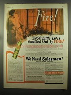 1925 Fyr-Fyter Fire Extinguisher Ad - Snuffed Out