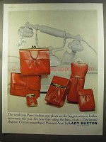 1959 Lady Buxton Parisian Pleats Leather Accessories Ad