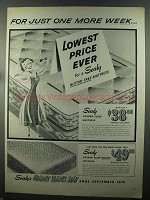 1958 Sealy Golden Sleep Mattress Ad - One More Week