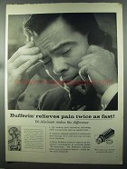 1958 Bufferin Medicine Ad - Relieves Pain