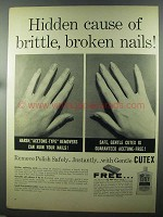 1958 Cutex Polish Remover Ad - Brittle, Broken Nails