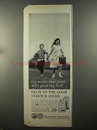 1958 Fruit of the Loom Stretch Socks Ad - Growing Feet