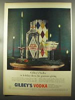 1957 Gilbey's Vodka Ad - Holiday Dress for Giving